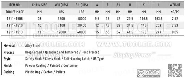 1211 Safety Hook Cleivs Type With Self Locking Latch G80 U S Type DATA
