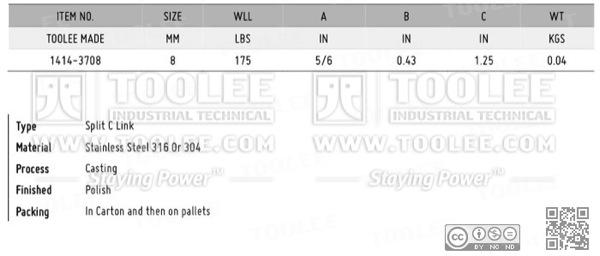1414 Split C Link Stainless Steel
