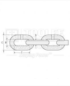 300 1052 Fishing Chain Grade 80 Short Link Drawing 246x300