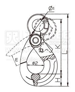 300 1210 Safety Hook Eye Type With Self Locking Latch G80 U S Type Drawing