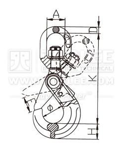 300 1212 Safety Hook Swivel Type With Self Locking Latch G80 U S Type drawing