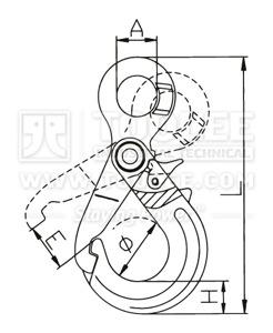 300 1214 Safety Hook Eye Type With Self Locking Grip Latch G80 drawing