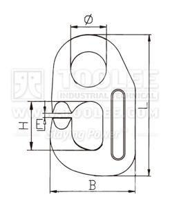 300 1401 DV Hook G80 Forged Viking Link drawing