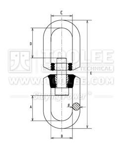 300 1462 Trawling Swivel Flex Type Stainless Steel SSF Drawing