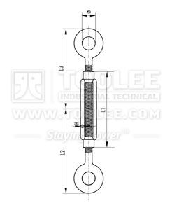 300 6301 Turnbuckle DIN1480 Eye Eye Galv drawing
