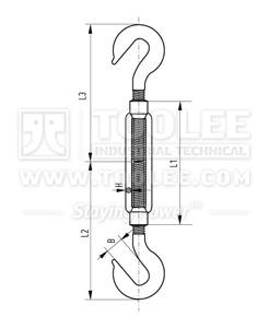300 6303 Turnbuckle DIN1480 Hook Hook Galv Drawing