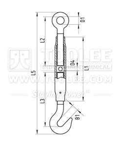 300 6309 Turnbuckle DIN1478 Hook Eye drawing