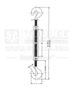 300 6310 Turnbuckle US Type Hook Hook HG 223 drawing
