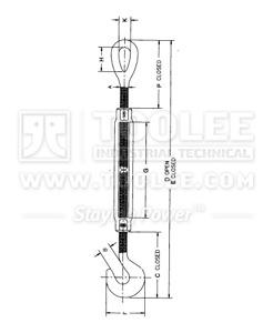 300 6311 Turnbuckle US Type Hook Eye HG 225 drawing