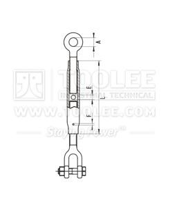 300 6330 Turnbuckle DIN1478 Jaw Eye Drawing