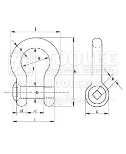 500 1125 Trawling Bow shackle Sunken Hole with Sunken Head drawing1