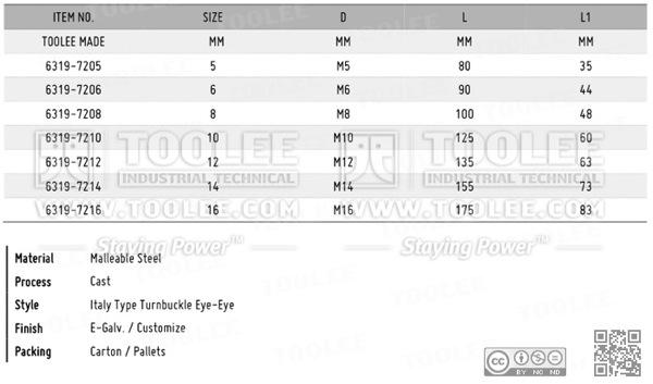 6319 Turnbuckle Eye Eye Italy type by Malleable Cast DATA