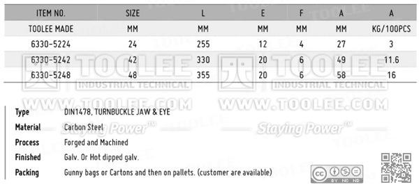 6330 Turnbuckle DIN1478 Jaw Eye DATA