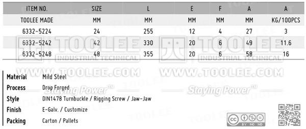 6332 Turnbuckle DIN1478 Jaw Jaw DATA