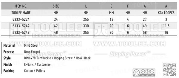 6333 Turnbuckle DIN1478 Hook Hook DATA